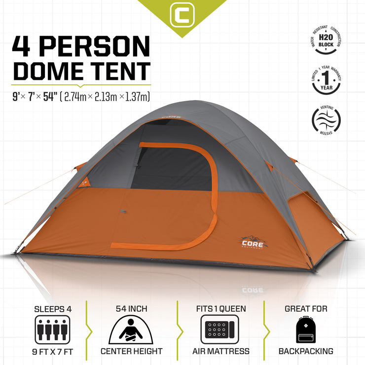 Core Equipment 4 Person Dome Tent Tech Spec
