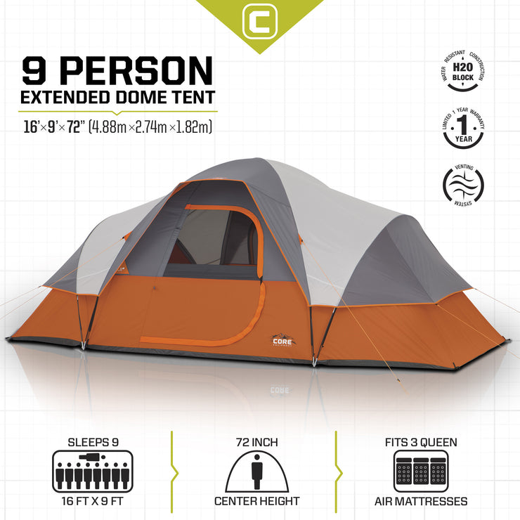 Core Equipment 9 Person Extended Dome Tent Tech Specs
