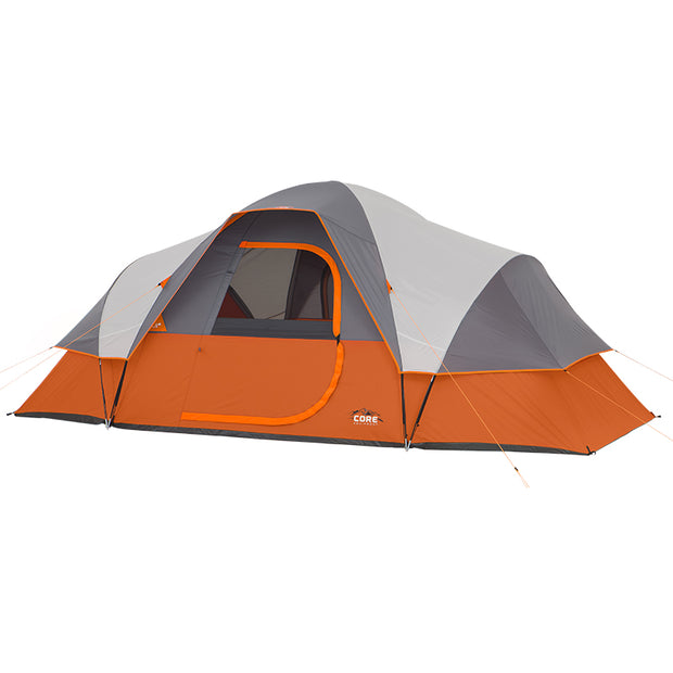 Core Equipment 9 Person Extended Dome Tent her omage with rainfly on