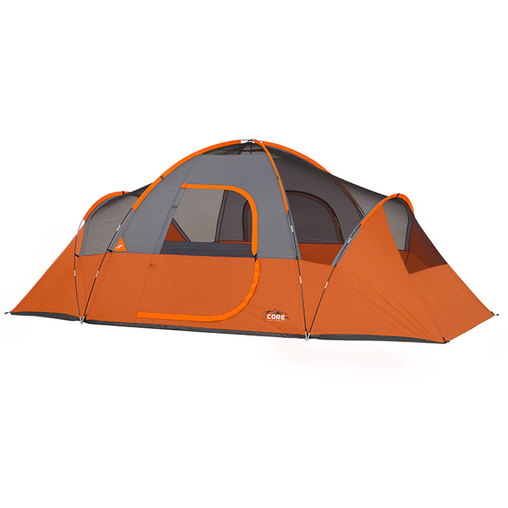Core Equipment 9 Person Extended Dome Tent her image with rainfly off to expose mesh panel ceiling