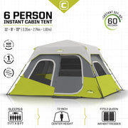 Core Equipment 6 Person Instant Cabin Tent Tech Spec