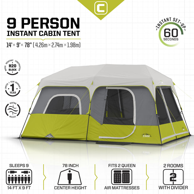 Core Equipment 9 Person Instant Cabin Tent Tech Specs