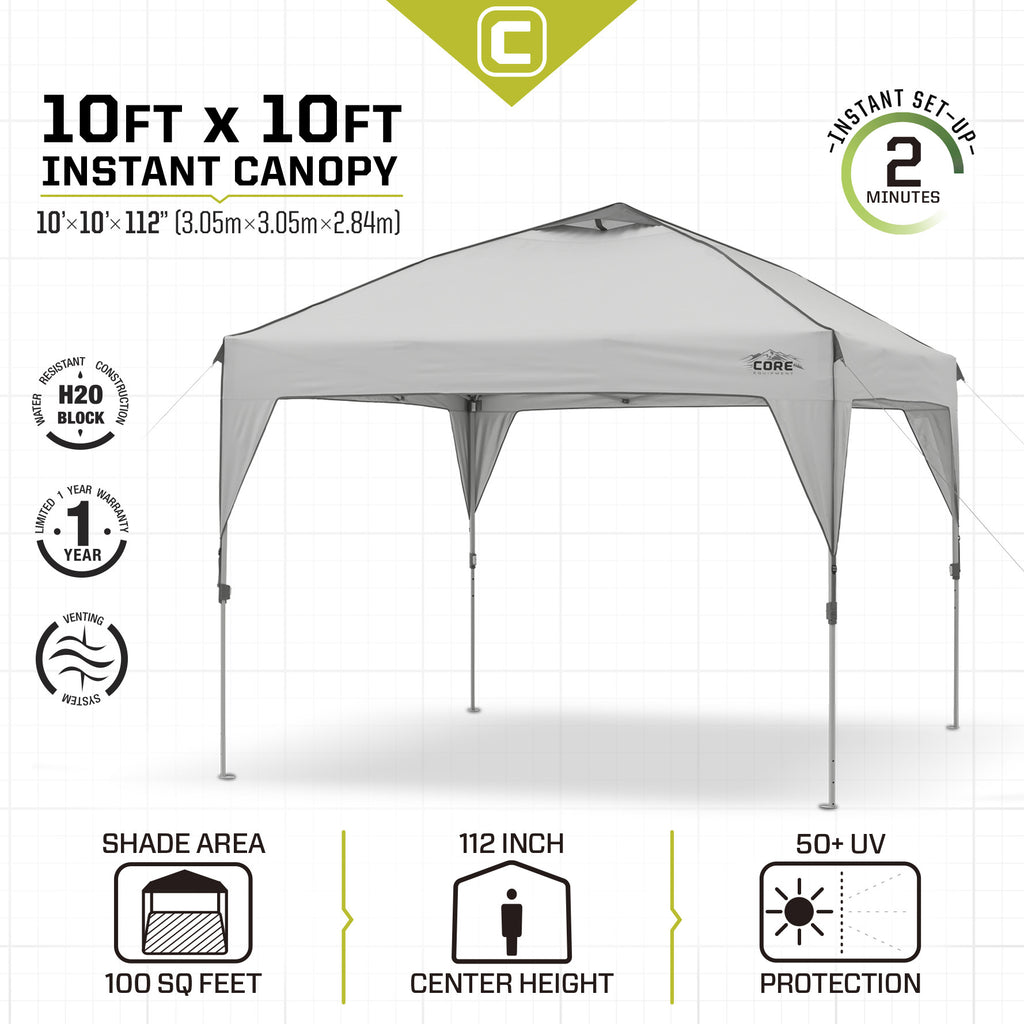 10x10 Instant Canopy Core Equipment