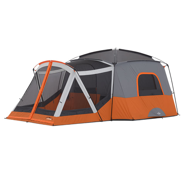 Core Equipment 11 Person Cabin Tent with Screen Room image with rainfly off to expose panoramic mesh ceiling