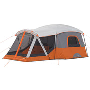 Core Equipment 11 Person Cabin Tent with Screen Room Hero image with rainfly on