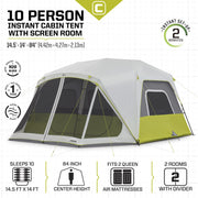 Core Equipment 10 Person Instant Cabin Tent with Screen Room Tech Spec