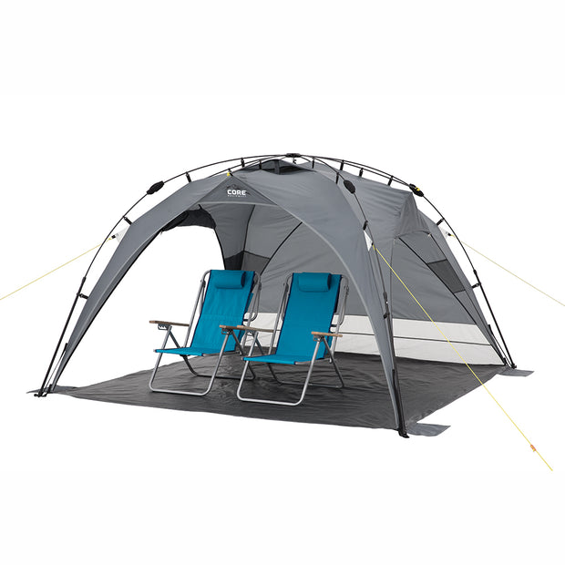 8x8 Instant Sport shade Dark version image with two beach style chairs sitting on shelter floor under shelter with side panels rolled