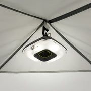 Tent light hanging from ceiling of 10x10 Screen House