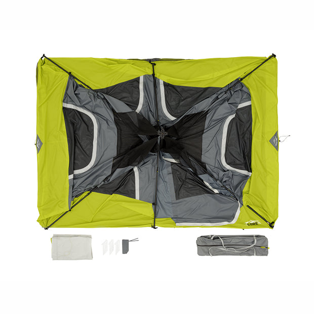 What is included in the tent bag: 8 Person Instant Cabin tent with pre-attached poles for instant setup, Rainfly, tent stakes, stake bag, large carry bag