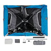 Image of what comes in the tent bag: Tent, rainfly, carry bag, screen room poles, battery box, gear loft