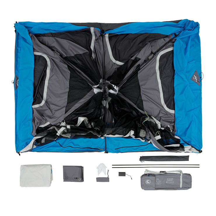 10 Person Lighted Instant Tent with Screen Room