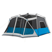10 Person Lighted Instant Tent with rainfly off to expose panoramic mesh ceiling
