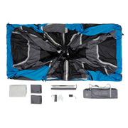 Image of what is included in tent bag: tent, rainfly, two room dividers, tent stakes, carry bag battery box, gear loft