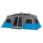 12 Person Instant Lighted Cabin Tent hero image with rainfly off to expose panoramic mesh ceiling