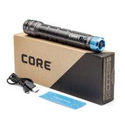 Flashlight package includes: flashlight, micro usb charging cord, quick start guide
