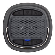1250 Lumen Rechargeable Lantern top view of bluetooth speaker control panel with lantern brightness, power, volume, and bluetooth pairing buttons