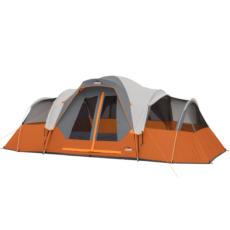 Image of tent with versitile rainfly rolled on right and left sides while still fully attached to top of tent