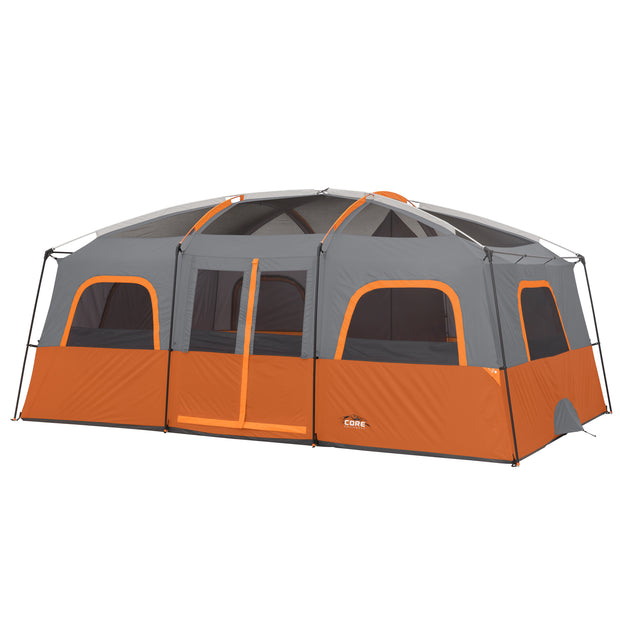 12 Person Extra Large Straight Wall Tent with rainfly off to expose panoramic mesh ceiling