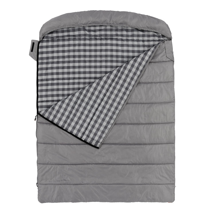 Hero image of cool climate queen size sleeping bag, grey with checkered pattern interior