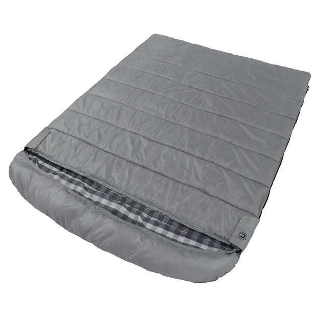 Queen size cool climate sleeping bag laying down fully zipped featuring full size hood