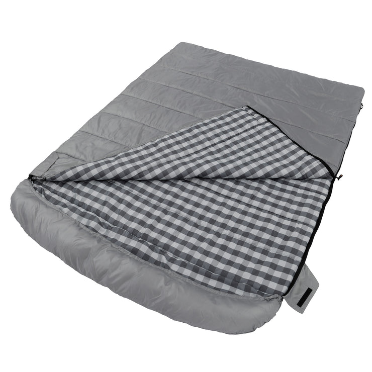 Queen cool climate sleeping bag laying down partially unzipped featuring full size hood