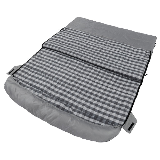 Queen cool climate sleeping bag laying down partially unzipped on both sides