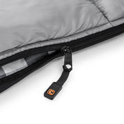 Close up image of zipper on queen size cool climate sleeping bag