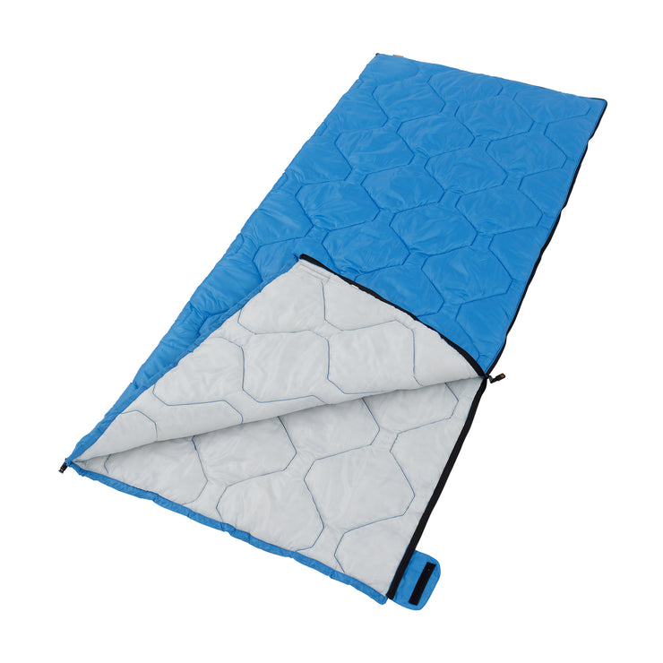 Cool climate sleeping bag laying down partially unzipped