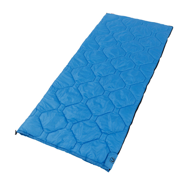 Cool climate sleeping bag laying down fully zipped