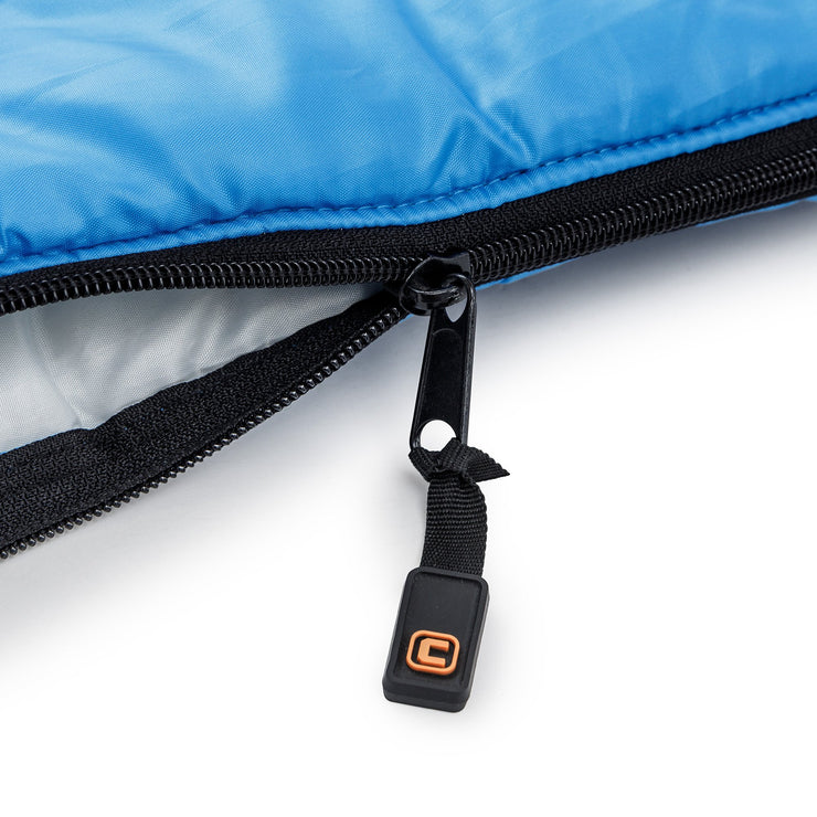 Close up image of zipper on cool climate sleeping bag