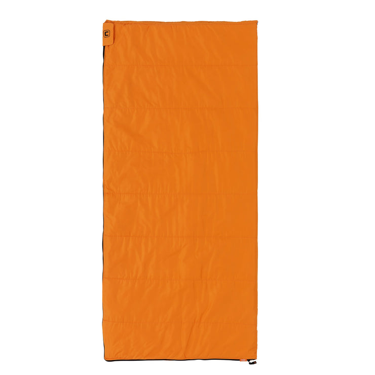 Image of orange alternadown sleeping bag fully zipped