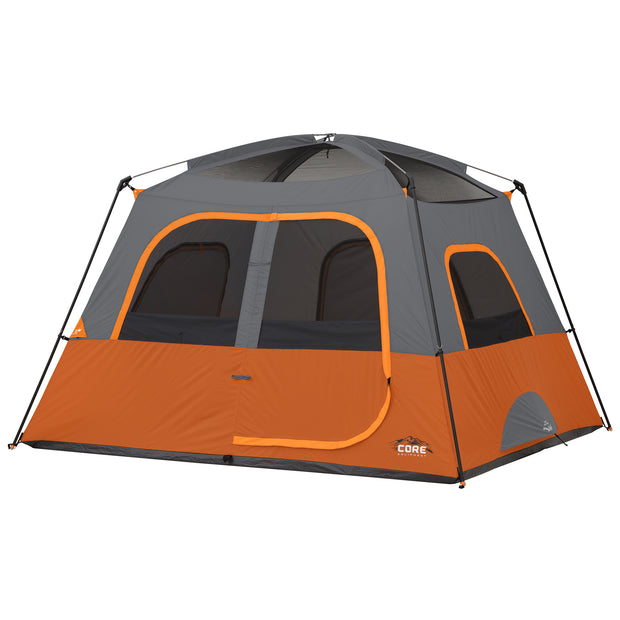 Hero image of tent with rainfly off, exposed mesh panel ceilings