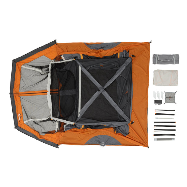 What's in the bag: tent, carry bag, rainfly, tent stakes, gear loft, tent poles