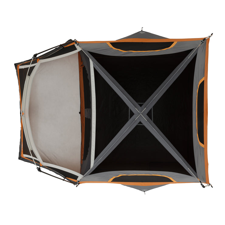 Arial image of tent with mesh ceiling