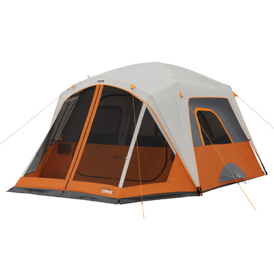 Tent hero image of 6 person straight wall cabin tent with screen room