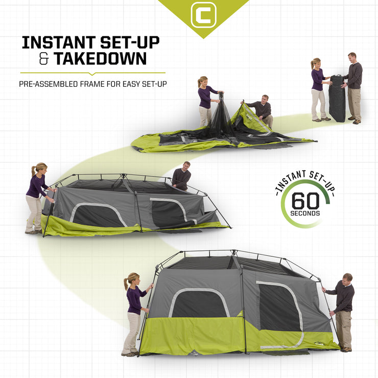 Core Equipment 9 Person Instant Cabin Tent Set Up