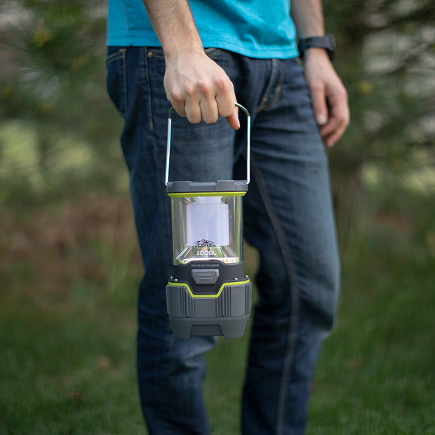 Lantern lifestyle image with person holding lantern to show scale