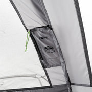 Image of pocket for lighted tent battery box on interior wall of tent
