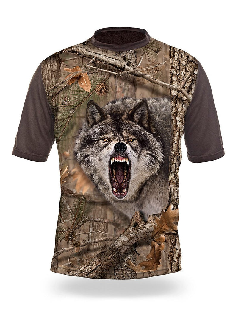 Shirts-Wolf 3D T-Shirt Short Sleeve - 1004-Hillman-Hunting-Shop