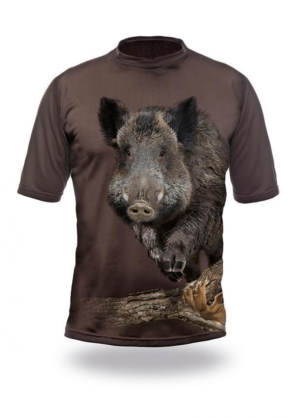 Shirts-Wild Boar Runs 3D T-Shirt Short Sleeve - 1014-Hillman-Hunting-Shop