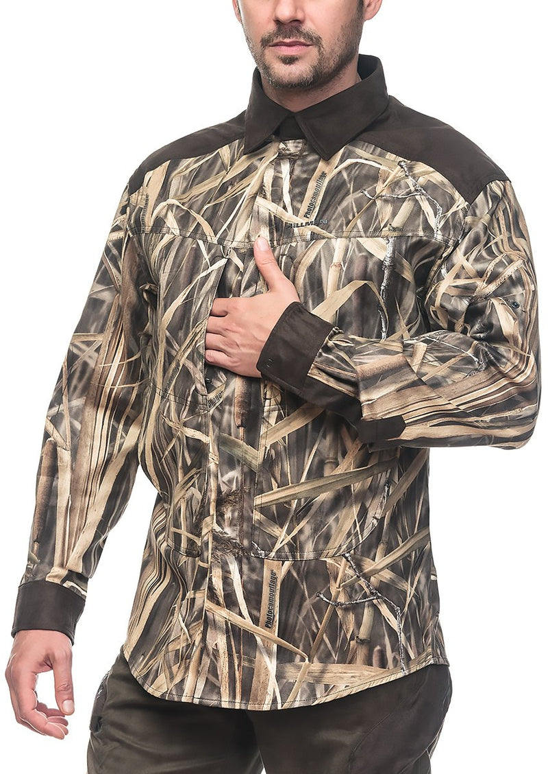 Waterfowl Camo XPR Hunting Shirt Magnetic - Mens Waterflow Camouflage Shirts Hillman®