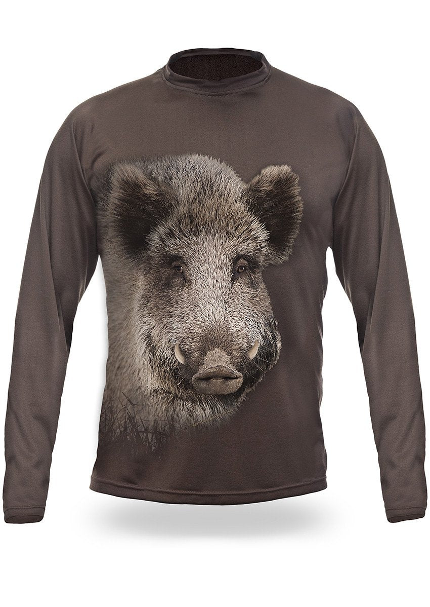 Shirts-Wild Boar 3D T-Shirt Long Sleeve - 3002-Hillman-Hunting-Shop