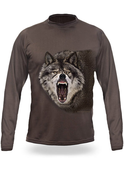 Shirts-Wolf 3D T-Shirt Long Sleeve - 3004-Hillman-Hunting-Shop
