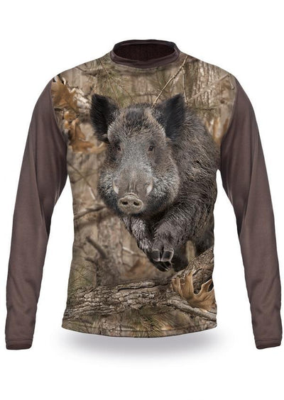 Shirts-Wild Boar Runs 3D T-Shirt Long Sleeve - 3014-Hillman-Hunting-Shop