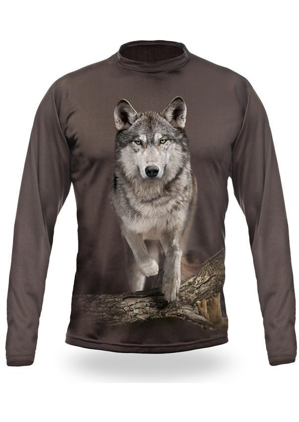 Shirts-Wolf Runs 3D T-Shirt Long Sleeve - 3015-Hillman-Hunting-Shop