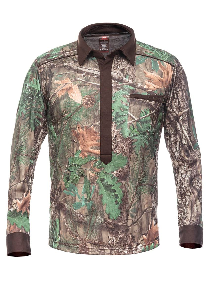 Green Camo Hunting Stretchshirt Magnetic Long Sleeve - Hillman Hunting Shirts
