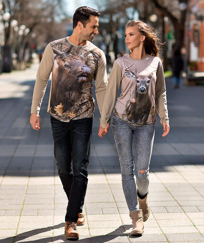 Couple walking with Whitetail Deer Shirt - Jumping Scene on