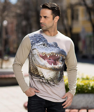 Man with alligator t-shirt
