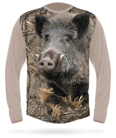 Wild Boar T-shirt Long Sleeve Camo by HILLMAN®