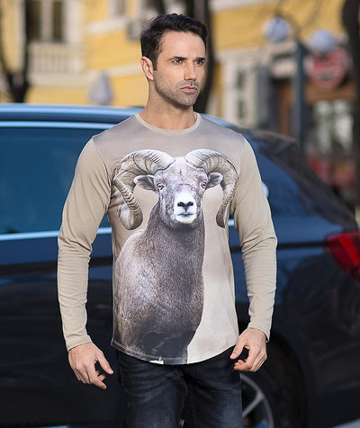 Man with Bighorn sheep t-shirt